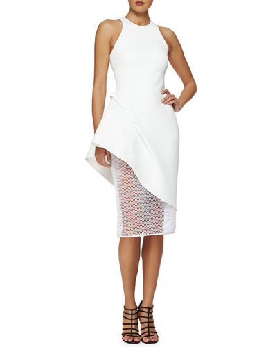 Asymmetric Peplum Netted Skirt Dress