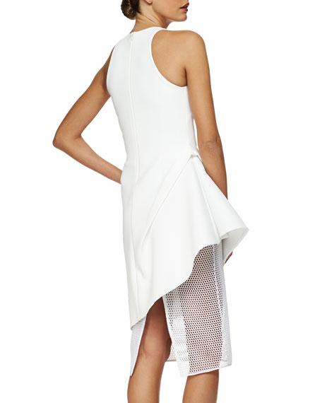 Asymmetric Peplum Netted Skirt Dress