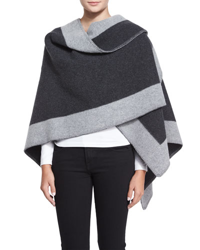 Wool-Cashmere Border Trimmed Cape, Charcoal