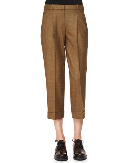 Michael Kors Collection Slouched Tic Weave Capri Pants