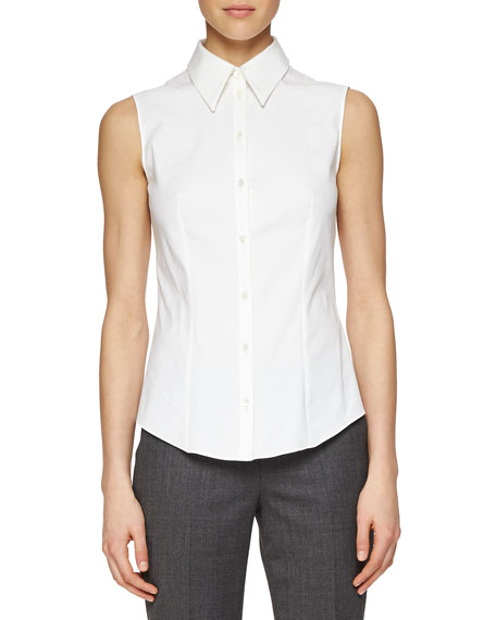 Michael Kors Collection Sleeveless Poplin Button Blouse