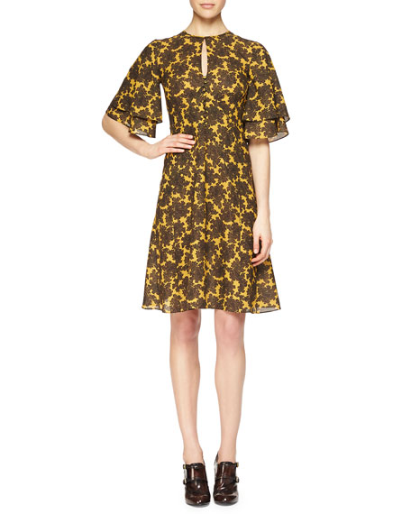 Michael Kors Collection Paisley-Print Ruffle-Sleeve Dress