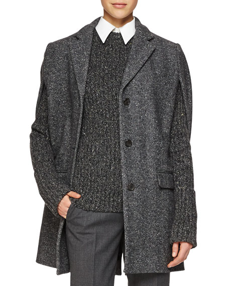 Michael Kors Herringbone Three-Button Cape Jacket