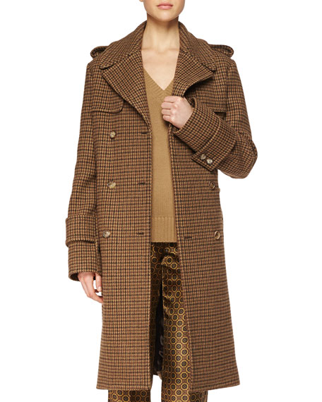 Michael Kors Houndstooth Menswear-Style Coat