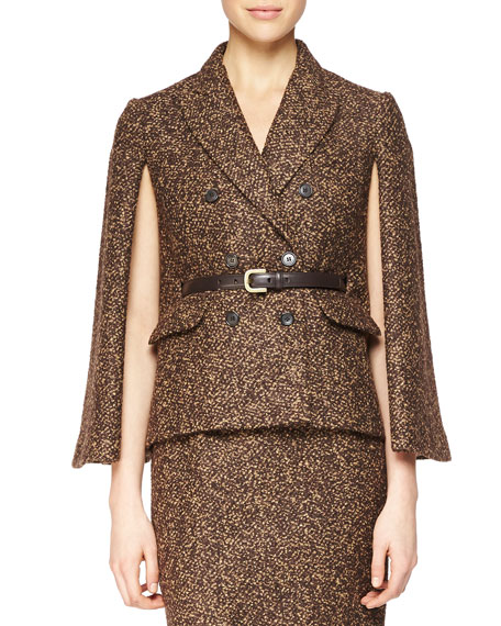 Michael Kors Collection Double-Breasted Cape Jacket