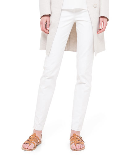 Magda Slim-Fit Silk-Blend Pants, Off White