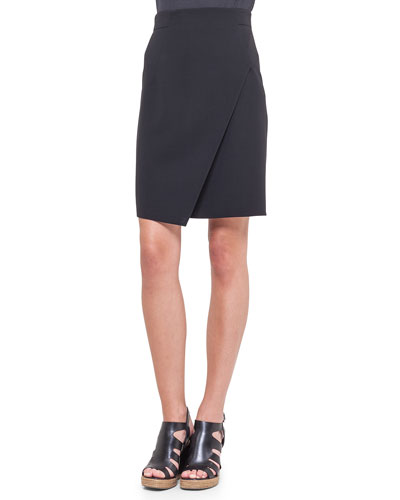 Asymmetric Front-Panel Pencil Skirt