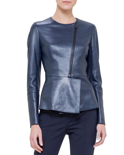 Asymmetric Peplum Leather Jacket, Azurite