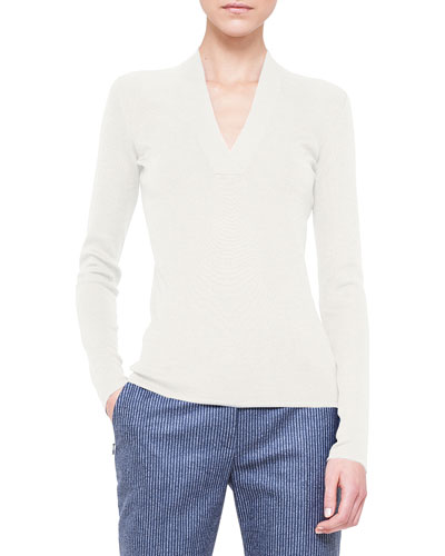 V-Neck Knit Pullover Top, Calcite