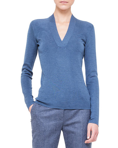 V-Neck Knit Pullover Top, Chefchaouen