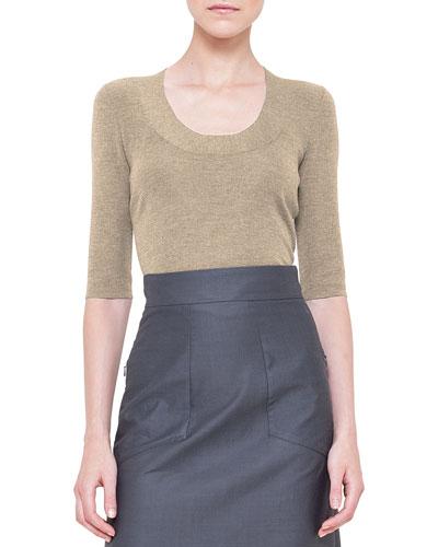 Half-Sleeve Silk Knit Top, Barite