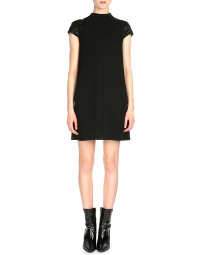Funnel-Neck Beaded Cap-Sleeve Dress