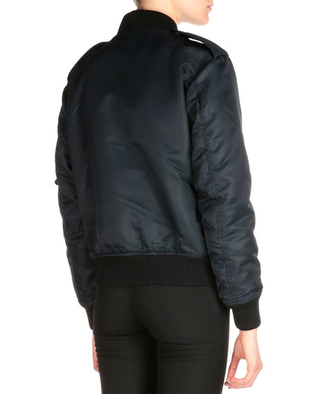 Saint Laurent Tech Fabric Aviator Bomber Jacket