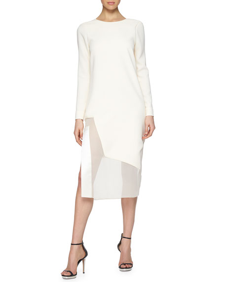 Prabal Gurung Low V-Back Chiffon-Inset Dress