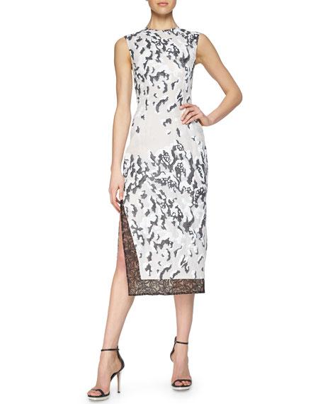 Prabal Gurung Cloud Jacquard Lace-Trimmed Dress
