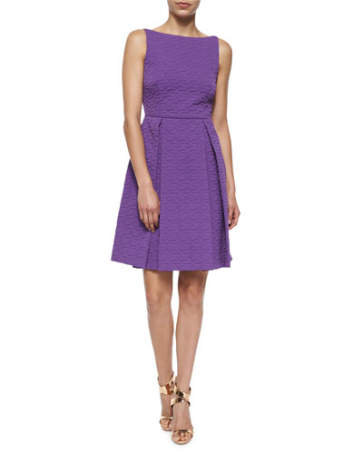 Bow-Back Quilted A-Line Dress, Purple