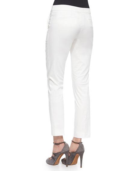 Front-Zip Slim-Fit Capri Pants