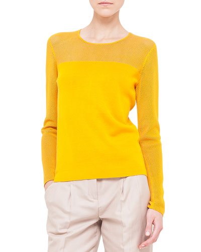 Mesh-Inset Fine Knit Pullover