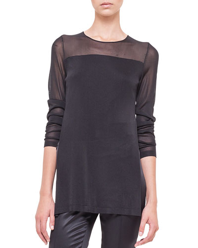 Sheer-Inset Layered Tunic
