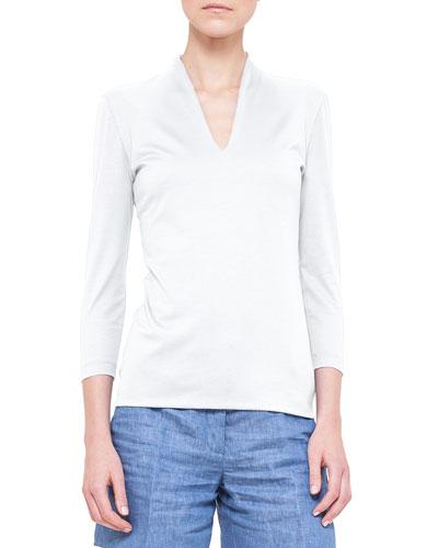 Three-Quarter-Sleeve Shawl-Collar Top, Calcite