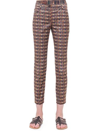 Bobines-Print Twill Slim Pants
