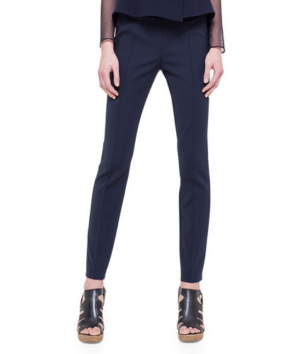 Melissa Double-Faced Slim Pants, Navy