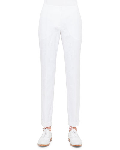 Frank Seersucker Slim-Fit Pants, Calcite