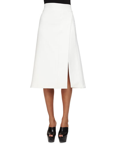 Scuba Crepe Faux-Wrap Skirt