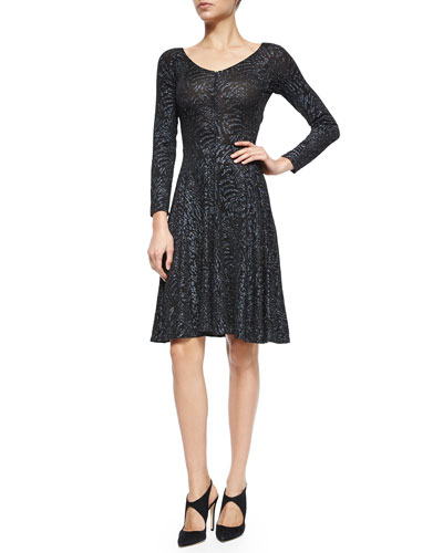 Long-Sleeve Elastic Glitter Dress, Navy