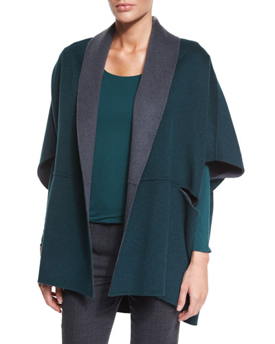 Reversible Wool/Cashmere Cape, Steel/Bottle Green