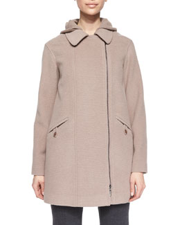 Zip-Front Removable Vest Coat, Dusty Rose