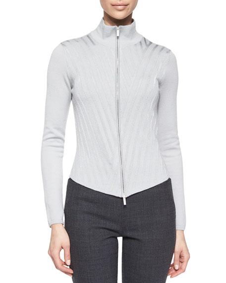 Armani Collezioni Zip-Front Stripe Jacket, Bottle Green
