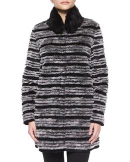 Reversible Striped Fur Belted Coat, Gray/Black Multi