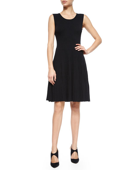 Armani Collezioni A-Line Pleat-Skirt Knit Dress