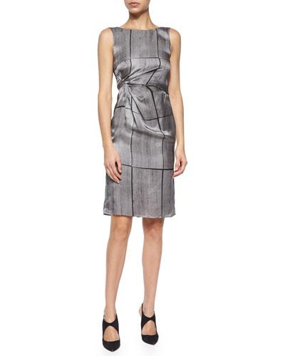 Abstract Grid-Print Silk Dress
