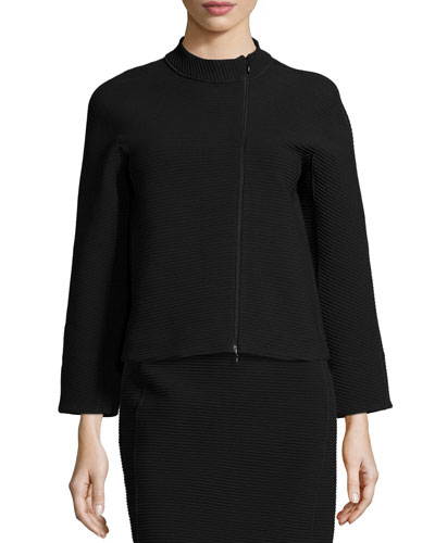 Asymmetric-Zip Ribbed Jacket, Black