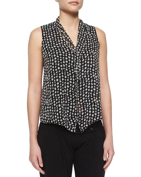 Armani Towels Online: Armani Collezioni Polka-Dot Ruffle Blouse, Black/White