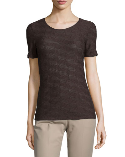 Short-Sleeve Textured Underpinning Top, Chocolate