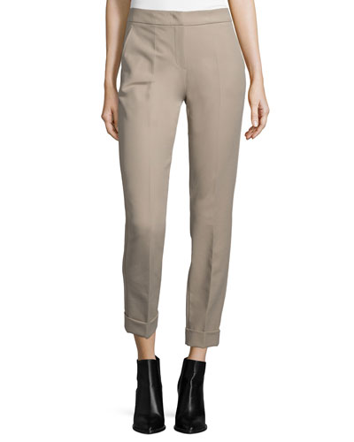 Slim-Leg Cuffed Pants, Pecan