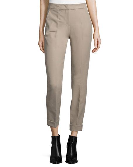 Armani Collezioni Slim-Leg Cuffed Pants, Pecan