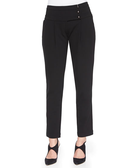 Armani CollezioniAsymmetric-Button Waist Slim Pants