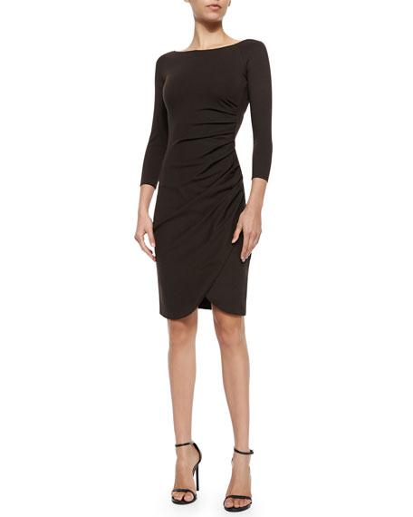 Armani Collezioni Bateau-Neck Side-Ruched Dress, Chocolate