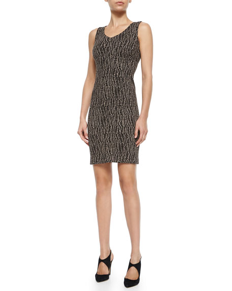 Armani Collezioni Animal-Print Jersey Sheath Dress