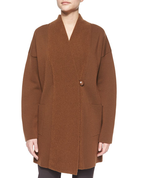 Armani Collezioni Asymmetric-Front Oversized Sweater Jacket