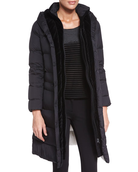 Armani Collezioni Hooded Long Puffer Jacket, Black