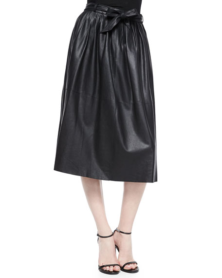 Armani Collezioni Leather Full Skirt w/Tie Belt, Black