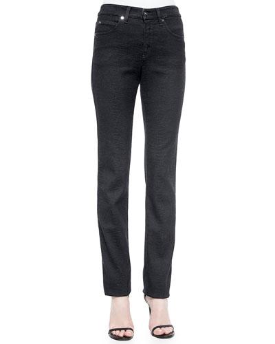 Animal-Embossed Five-Pocket Jeans, Midnight