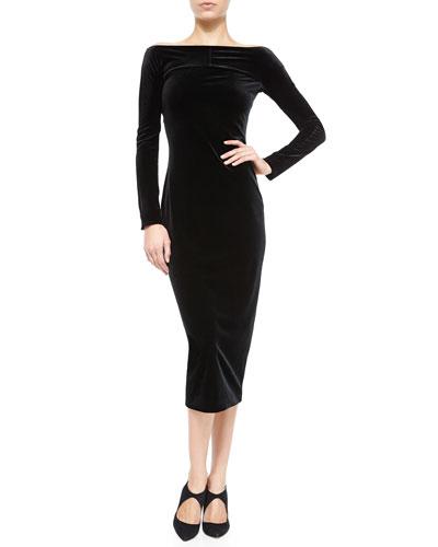 Off-the-Shoulder Velvet Dress, Black