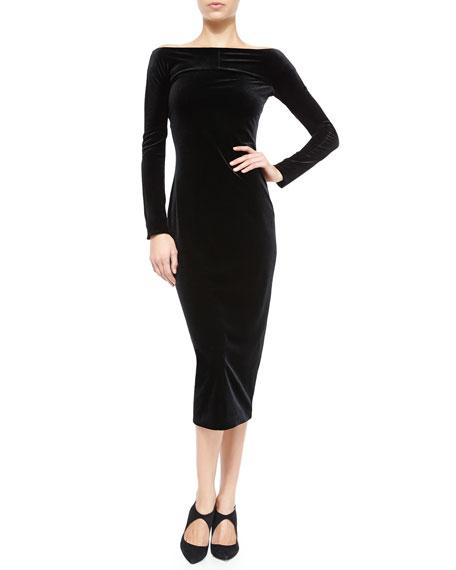 Armani Collezioni Off-the-Shoulder Velvet Dress- Black