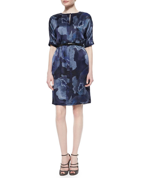 Armani Collezioni Half-Sleeve Belted Floral-Print Dress, Blue Multi